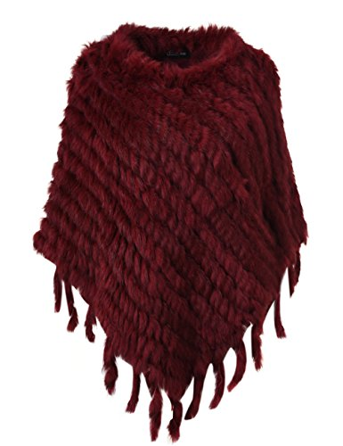 Ferand Kaninchenfell Gestrickter Poncho Damen mit Fransen, eleganter Echt Pelz Cape Warm für Winter, One Size, Burgund
