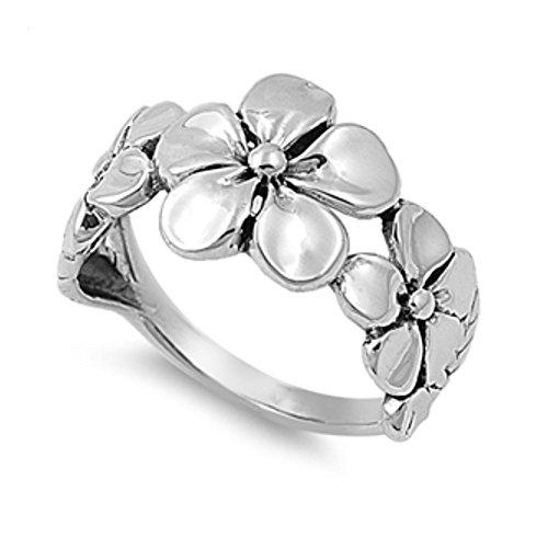 Plumeria-ring (Sterlingsilber Plumeria Ring)