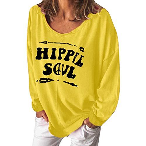 Xmiral Lange Ärmel Bluse Lässiges Buchstabe Drucken Kurzarm Lose Rundhals T-Shirt für Damen Elegant Wild Hemd Pullover Sportbekleidung(b Gelb,XL) -
