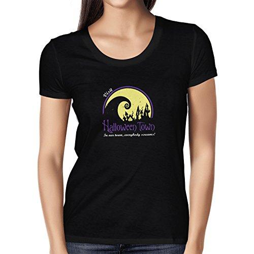 NERDO - Visit Halloween Town - Damen T-Shirt, Größe L, schwarz