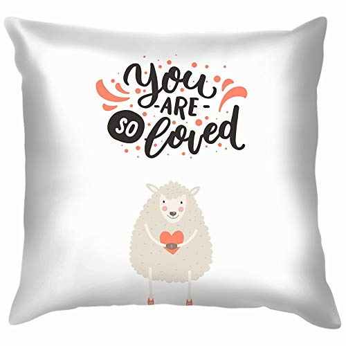 Cute Animal Hand Animals Wildlife Handdrawn Holidays Cotton Throw Pillow Case Cushion Cover Home Office Decorative, Square 18X18 Inch ()