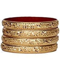 Set Of 4 Traditional Jewellery Gold Plated Bangles For Daily Use With Intricate Meenakari Work For Women And Girls