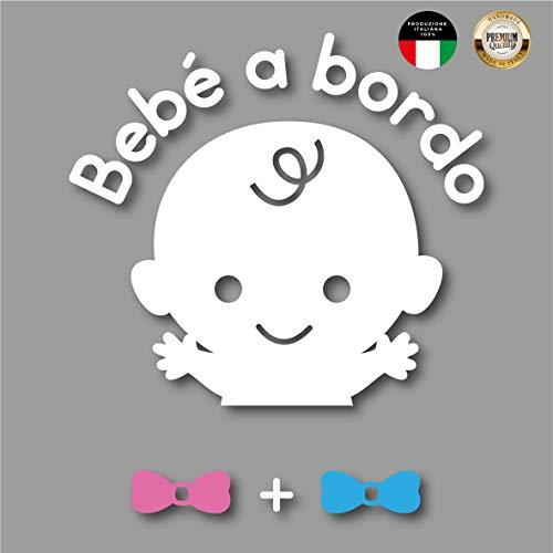 Artigiani digitali adesivo accessori auto e moto bimbo, neonato bebe a bordo famiglia in macchina decalcomania lunotto car stickers no personalizzato