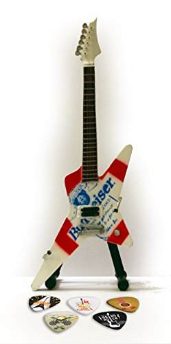 Flying Bei V-gitarre (Metallica James Hetfield Flying V Beer Miniatur-Replica Guitar & Plektren)