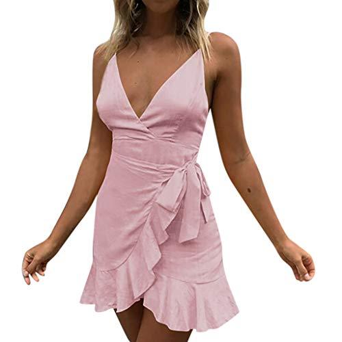 OMYGOA ❤Frauen Urlaub Spitze sexy Frauen Sommer pomisi rückenfreie Tiefe v Beach Party Dress(Rosa,L) - Burberry Frauen Uhr