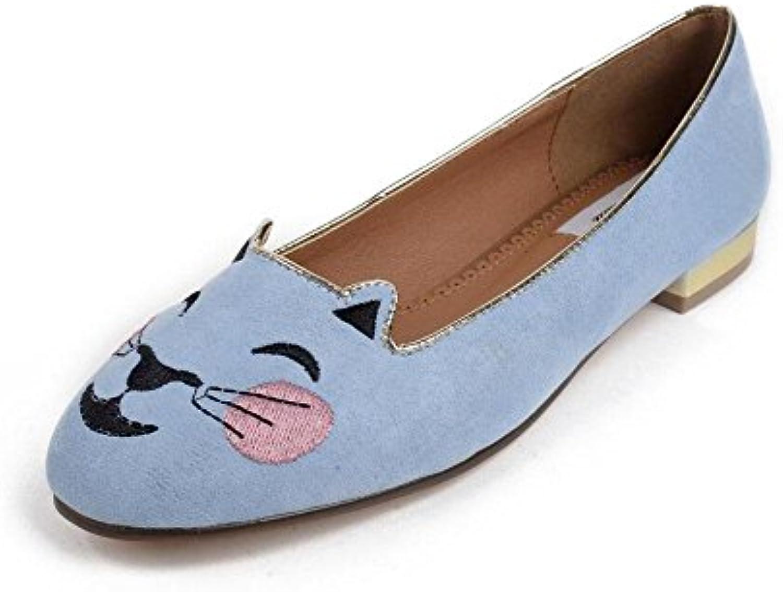 GLTER Mujeres Zapatos planos sandalias Sen Femenino Primavera de dibujos animados Cabeza de gato bordado de gamuza...