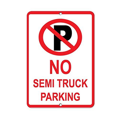 Monsety Wand-Dekorationsschild No Semis Truck Parking Parking Parken Metallschild lustiges Aluschild