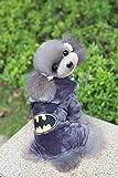 GHJFGJNF Dog Clothes Classic winter pet clothing Teddy clothes Batman four-legged fleece (Color : Dark gray, Size : M) Cat Clothes (Color : Dark gray, Size : L)
