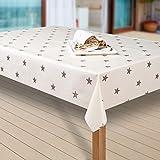 laro Wachstuch-Tischdecke abwaschbar meterware Wachs-Tischtuch Wachs-Decke Sterne Gold, Größe:118x180 cm