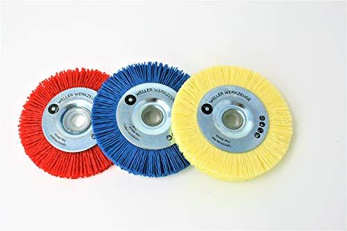 3er Set Nylonbürste Bürste Reinigungsscheibe passend für Bosch GWS 10,8 12V 76 Zubehör Stahl Edelstahl Holz Schleifscheiben