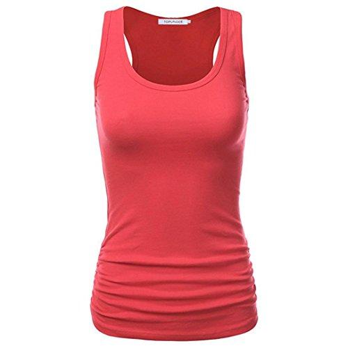ESAILQ Damen Lose Asymmetrisch Sweatshirt Pullover Bluse Oberteile Oversized Tops T-Shirt(M,Wassermelone rot) -