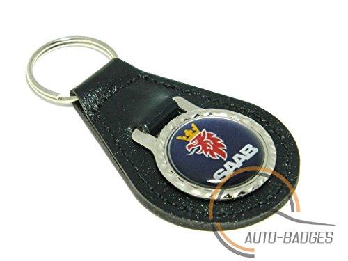 Qualité en cuir noir Saab Porte-clés