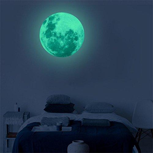 wandaufkleber wandtattoos Ronamick 30cm 3D großer Mond Wandtattoo fluoreszierender Wandaufkleber entfernbarer Glühen im dunklen Aufkleber Wandaufkleber Sticker Wanddeko