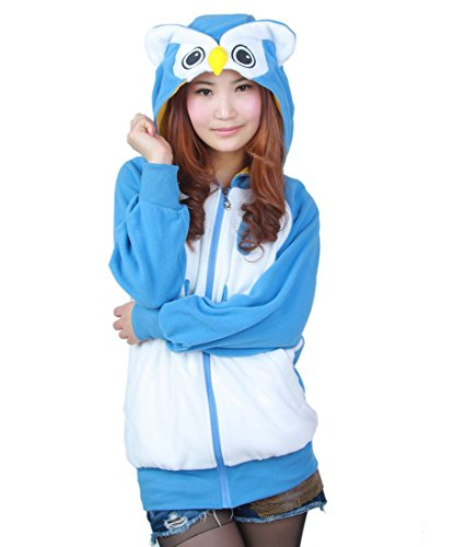 Magicmode Womens Cartoon Anime Hoodies Jacke Unisex Tiere Reißverschluss Sweatshirt Mantel Cosplay Kostüme Eule XL