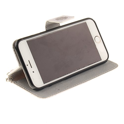 iPhone 6S Hülle, iPhone 6 Hülle, ISAKEN iPhone 6S 6 Hülle Muster, Handy Case Cover Tasche for iPhone 6S / 6, Bunte Retro Muster Druck Flip Cover PU Leder Tasche Case Schutzhülle Hülle Handy Tasche Etu Blume Braun
