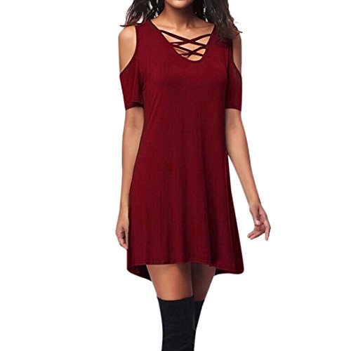Minikleid,SANFASHION Frauen Cold Shoulder Kurzarm Criss Cross T-Shirt Kleid mit Tasche