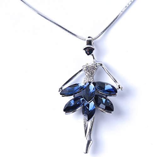 Jixing Frauen Blau Kristall Ballett Mädchen Anhänger Aussage Lange Kette Pullover Halskette Strass Halskette Schmuck Geschenk - 72 cm