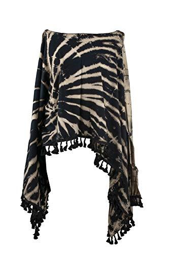 te Groovy Colors 2in1 Poncho Wrap Böhmische Hippie Festival Beachwear (Black & White) ()