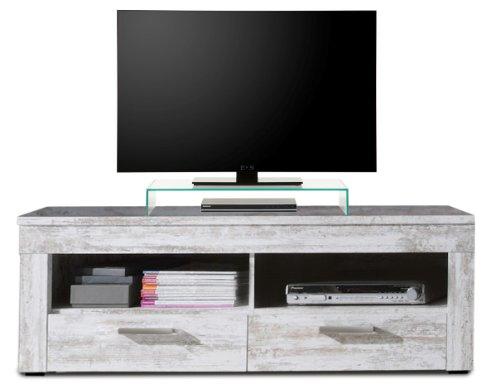 trendteam RV31868 TV Möbel Lowboard weiss Canyon Pinie Shabby Chic Retro Nachbildung, BxHxT 135x45x50 cm