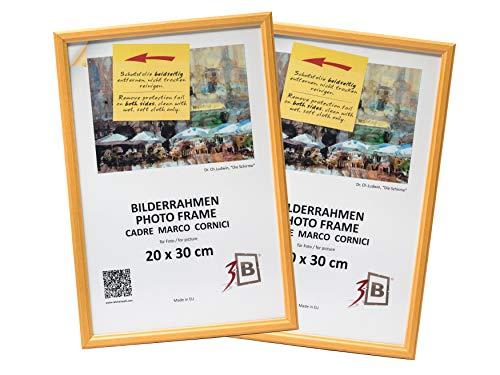 3-B Set 2 STK. - Bilderrahmen JENA - Natur - 20x30 cm - Holzrahmen, Fotorahmen, Portraitrahmen mit Plexiglas -