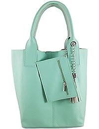 1b0f6663604f9 Freyday Damen Echtleder Shopper mit Schmucktasche in vielen Farben  Schultertasche Henkeltasche Handtasche Metallic look
