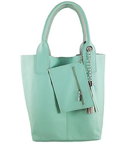 Damen Echtleder Shopper mit Schmucktasche in vielen Farben Schultertasche Henkeltasche Handtasche Metallic look (Mint)