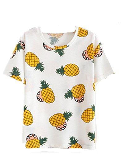 EMIN Damen Shirt Oberteile Damen Rundhals Freizeit T-Shirt Bluse Kurzarm Lose Oberteil Tunika Blumendrucken Bildfarbe7