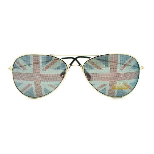 SA106 Britisches England Flag In-Pint Pilot Sonnenbrillen 2.38 britische Flagge Einheitsgröße Silber
