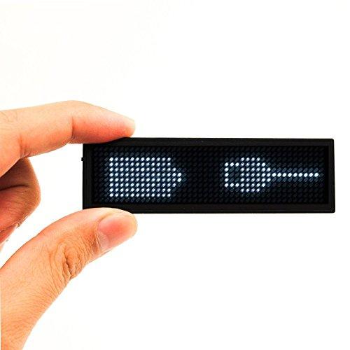 Namensschilder, SUMBAY Namensschild Digital-Rollbalken Wiederaufladbare Büro Megnetic Leuchtschild, MicroUSB Programmierung Digital Sign 11x44Dots mit Magneten und Stift, freies Laufwerk (Weiß)