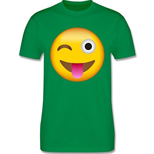 Comic Shirts - Emoji Herausgestreckte Zunge - Herren T-Shirt Rundhals Grün