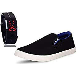 Chevit Men's COMBO 102 Casual Loafers Shoes With LED Watch Bracelet Adjustable Band - SCRATCH-LESS Display
