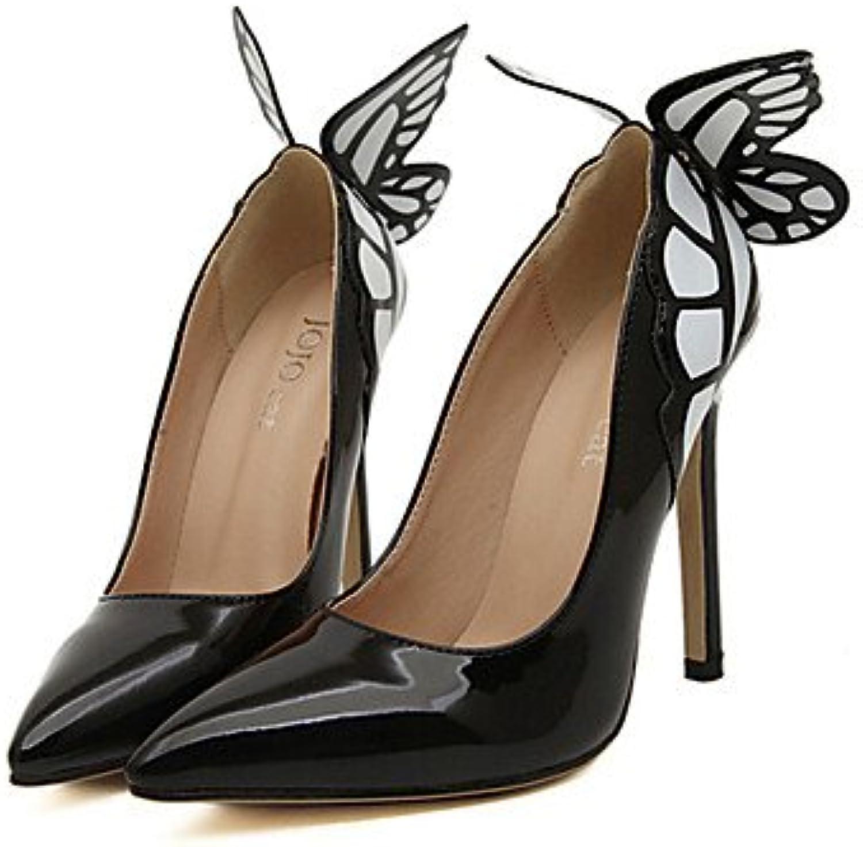 Zormey Women'S Shoes Stiletto Heel Heels Pumps/Heels Outdoor/Dress Black/Yellow Black Us5.5 / Eu36 / Uk3.5 / Cn35