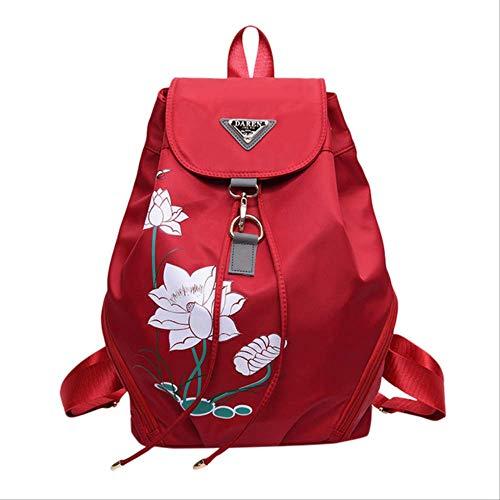 fhdc Mochila Lotus Mochila Impresión Colorida Mujeres Casual Versátil Gran Capacidad Moda...