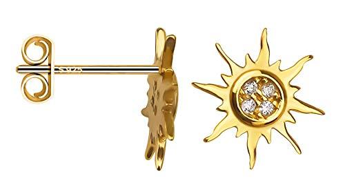 SOFIA MILANI orecchini da donna stella sole argento e Placcato oro, colore: bianco, cod. 20554