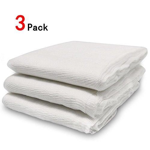 Lot de 3 étamines en mousseline ZesGood - En coton naturel non blanchi - 1,8 m²/2,74m