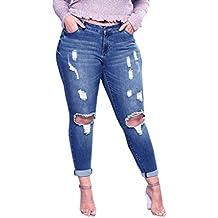 Grande Taille Femme Jean Skinny Sexy Déchiré Au Genou,Overdose Automne  Hiver Pantalons Jean Taille 185cae58b4d4