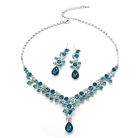 Glamorous Kristall Strass Perlen Halskette Ohrringe Hochzeit Schmuck Sets (Schmuck Führer)
