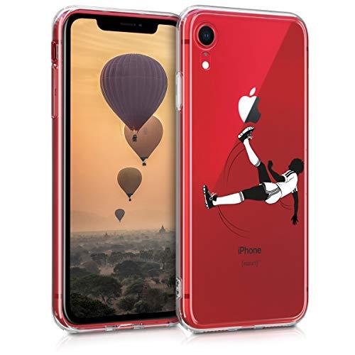 kwmobile Apple iPhone XR Hülle - Handyhülle für Apple iPhone XR - Handy Case in Sport Fußball Design Schwarz Weiß Transparent