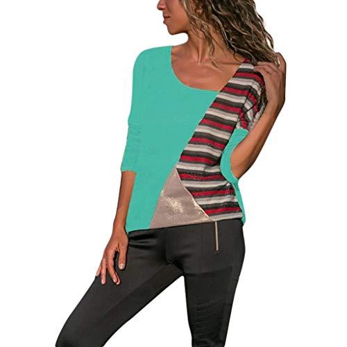 Costura Color De Contraste Cuello Redondo Manga Larga Camiseta Mujer  Top 4ba8f20f3df0