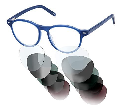 Sym Brille mit wählbarer Sehstärke von -4.00 (kurzsichtig) bis +4.00 (weitsichtig) und auswechselbare Gläser in 6 Farben, für Damen, Modell 02 in Crystal Dark Blue