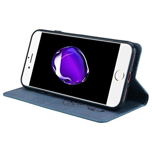 Coque iPhone 7, Etui iPhone 7 (2017), GrandEver Housse PU Cuir pour iPhone 7 Bleu Housse à rabat en cuir Couverture Portefeuille Folio Cas Flip Cover Attrape Rêve Motif Leather Cas Case de Protection  Bleu