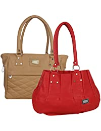 Fillincart Women Red And Brown Colour PU Material Pack Of 2 Hand Bags