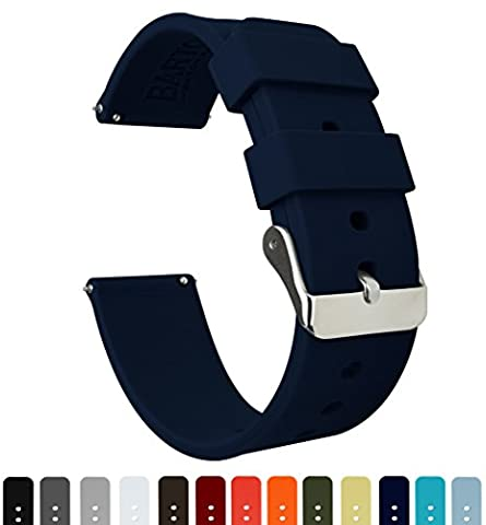BARTON Silicone Quick Release- Choose Colour & Width (16mm, 18mm, 20mm, 22mm) - Navy Blue 18mm Watch Band