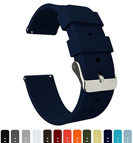 Barton Watch Bands Silikon Schnellverschluß.- Wählen Sie Farbe & Breite (16mm, 18mm, 20mm or 22mm) Marineblau 22mm Uhren Armband