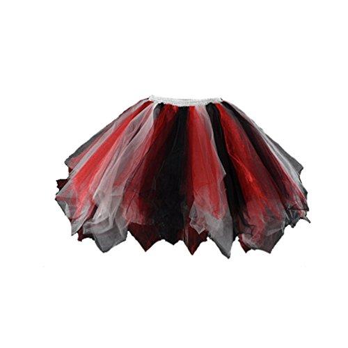 utu Unterkleid Ballet Petticoat Rock Abschlussball Abend Gelegenheit Zubehör Weiß Rot Schwarz (Diy Halloween Kostüme Schwarz Und Weiß)