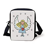 Xmas,Cute Little Girl with Wings Red Heart Stars Angel Blessing Heaven Holiday Decorative,Black White Pale Blue Print Kids Crossbody Messenger Bag Purse