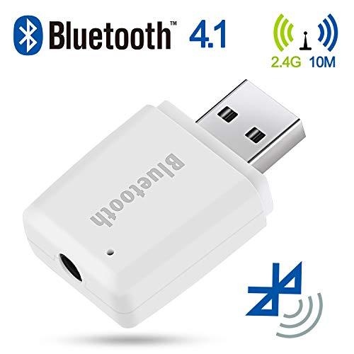 JUSTDODO Bluetooth Adapter USB Bluetooth Musik Empfänger 3,5 mm Stereo Ausgang für Tragbare Lautsprecher und Home Auto Stereo Systeme kompatibel mit iOS Android jedes Handy (Weiß)