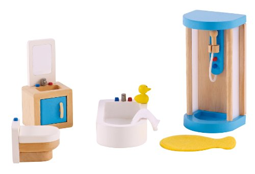 Hape Puppenhaus-Badezimmer aus Holz 7-teilig in blau (E3451)