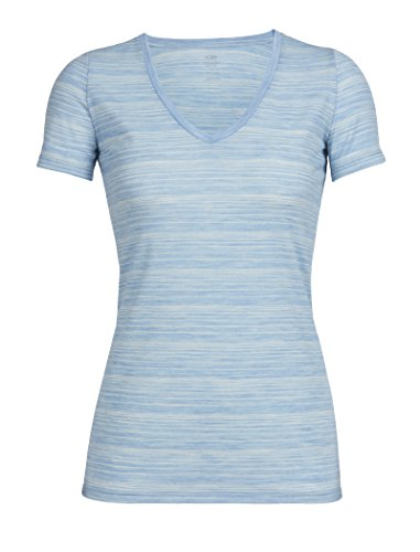 Icebreaker Damen Merino Merino Tech Lite Short Sleeve V Stripe XL Mist Blue Heather/Snow/Stripe -