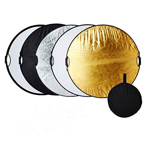 5 in 1-60cm Fotografie Faltreflektor Set Reflektor Diffusor mit 2 Griff und Tragetasche (Rund) Gold, Silber, Weiß, Schwarz und transparent...